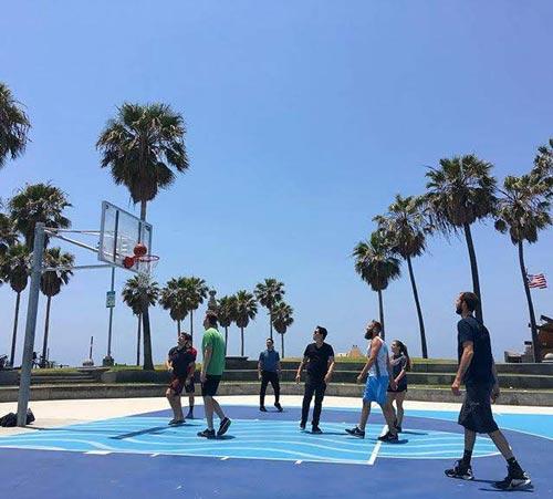 Codesmith students play basketball