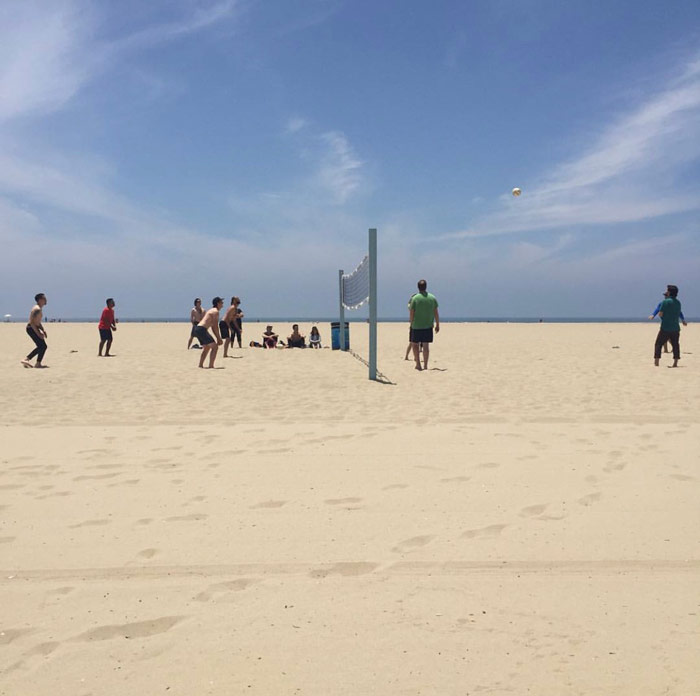 Codesmith team playing volleyball