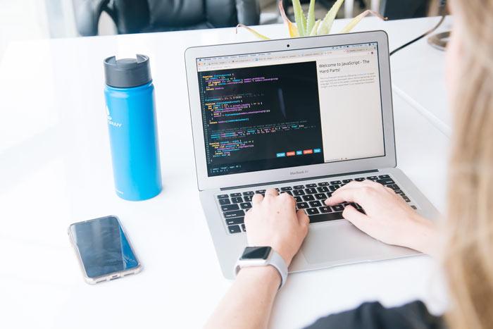 Writing JavaScript on Laptop
